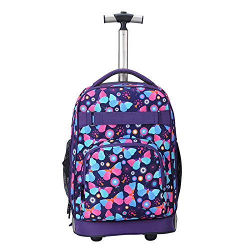 FREETT Child School Trolley Backpack, Girl Bag with Wheels, Multifunctional Wheeled Laptop Case, for Women Youth and Student, Multicolor, 32 * 20 * 46 cm