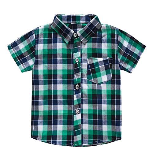 Xiangdanful Jungen Kurzarm Hemd Tops Baby Kinder Kariertes T-Shirt Blusen Kleinkind Junge Baumwolle Plain Streifen Hemd Sommer Outfits Infant Jungen Kleidung Sweatshirt (110, Grün)