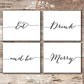 Eat Drink and Be Merry Wall Decor Art Prints (Set of 4) - Unframed - 8x10s
