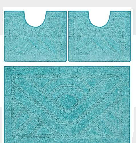 Olivo Tappeti Tappeto Bagno PARURE Set 3 Pz, Unicolor Azzurro