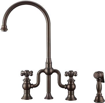 Whitehaus Collection Whttscr3 9773 Nt Ab Twisthaus Kitchen Bridge Faucet Large Antique Brass