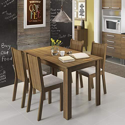 Conjunto Mesa de Jantar com 4 Cadeiras Rustic-Pérola Rosie Madesa