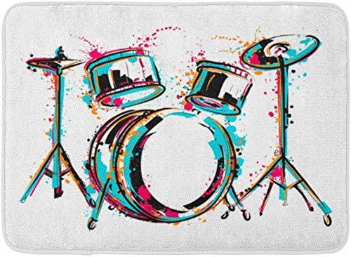 LiminiAOS Fußmatten Badteppiche Outdoor/Indoor Türmatte Sketch Drum Kit Spritzer in Aquarell Bunte Reggae Schlagzeuger Musik Badezimmer Dekor Teppich Badematte