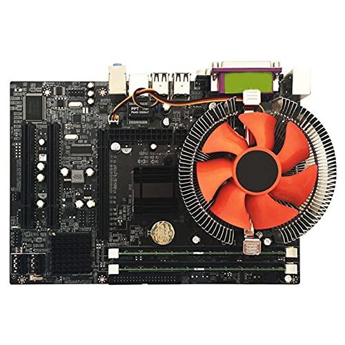 MYHJ Fit for Placa Base de Escritorio G41 para Juego de CPU con Quad Core 2.66G CPU E5430 + Memoria 4G + Juego de ensamblaje de Placa Base de computadora ATX de Ventilador