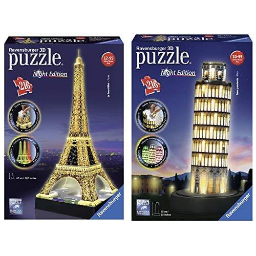 Ravensburger 125791 Eiffelturm bei Nacht Puzzle 3D-Puzzle Bauwerk Night Edition, 216 Teile & 12515 3D-Puzzle Schiefer Turm bei Nacht