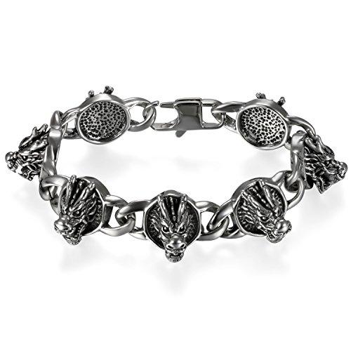 JewelryWe Schmuck Herren Biker Armband, Groß Schwer Punk Rock Drache Kopf Link Armkette Armreif, Edelstahl, Schwarz Silber