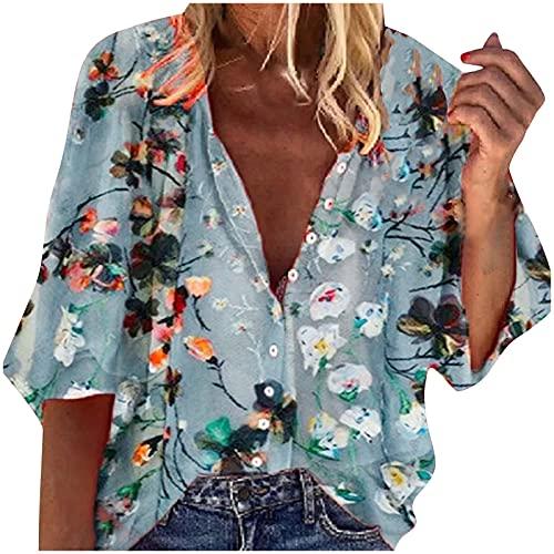 Bluse Damen Sommer, Langarm V-Ausschnitt Blusehemd, Casual Baumwolle Button-down Langarmshirt, Einfarbig Loose Oberteile Tops Shirts Für Frauen Teen Girls