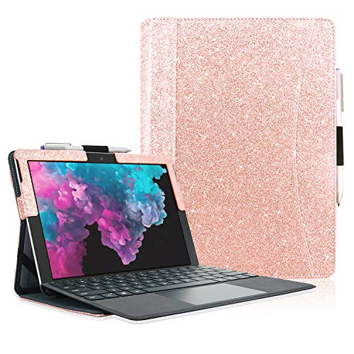 ACcolor Microsoft Surface Pro 7 Case, Multiple Angle Viewing with Pocket Business Case for Surface Pro 6 / Surface Pro 5 / Pro 4 / Pro 3(Fit Type Cover Keyboard), Rose Gold Glitter