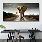 ganlanshu Cuadro En Lienzo Elefante Moderno Cuadro de Arte onhomewall50x100cmPintura sin Marco