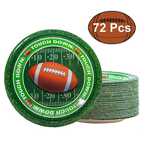 JOYIN 72 Pieces Touchdown Football Paper Plates Football Game Day Party Accessory Supplies (9 Inches Large)