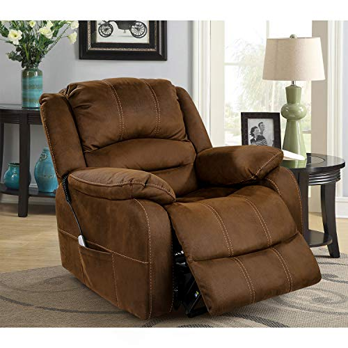 OT QOMOTOP Electric Power Lift Recliner Chair, Soft Fabric Design with Side Pockets, Hand Remote Control