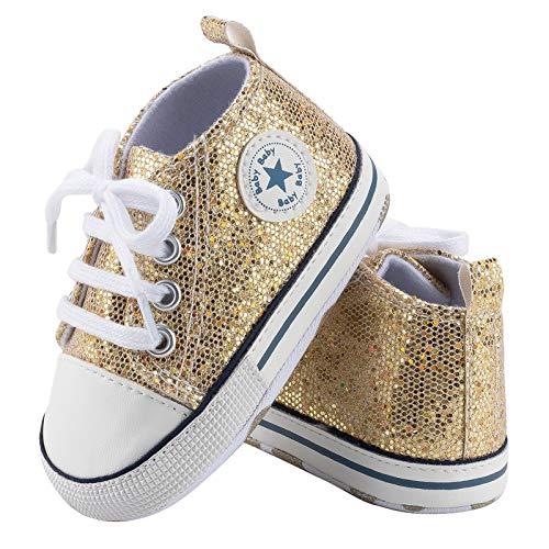 Geagodelia Prewalker mit Pailletten Neugeborene Schuhe für Mädchen mit weicher Sohle, für Kinder mit elastischem Band, Gold - gold - Größe: 12-18 mesi