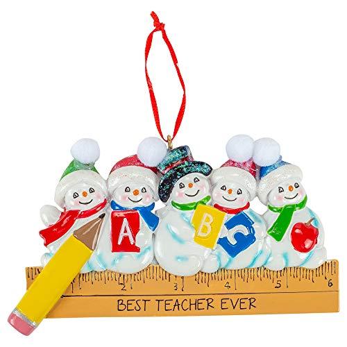 Kurt Adler A1979 Best Teacher Ever with Snowmen Ornament for Personalization, 2-inch High, Resin