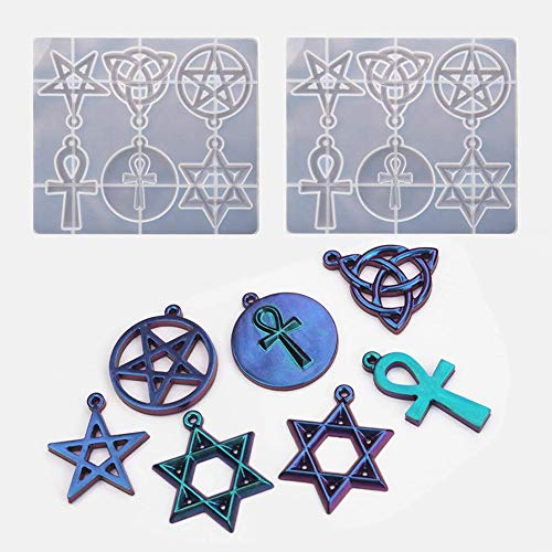 2PCS Silicone Resin Molds, Pentagram, Star, Celtic Knot, Cross,Epoxy Casting Resin Molds for Jewelry Making, Crafts DIY, Pendant, Key Chain, Ornament, Home Decoration