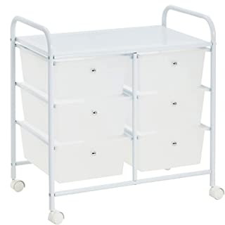 IDIMEX Caisson sur roulettes GINA Chariot avec 6 tiroirs en Plastique Blanc Transparent et 1 étagère, Meuble de Rangement ...
