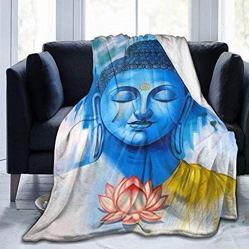MIGAGA Throw Blanket,Blue Buddha and Flowers,Warm Flannel Bed Blankets for Couch Bed Living Room Bedroom,50' x 40'