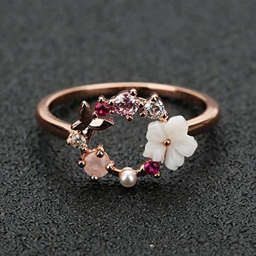 SONGK Anillos de Boda de Dedo de Cristal con Flores de Mariposa Creativas a la Moda para Mujer, Anillo de Glamour de circonita de Oro Rosa, joyería para niña, Regalo