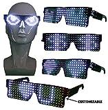 CYB Lunettes Lumineuses LED personnalisables pour Raves, fêtes, festivals de musique, Halloween avec USB