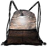 AZXGGV Drawstring Backpack Rucksack Shoulder Bags Gym Bag Sport Bag,Dark Cracked Bricks Ceiling Lamp Spot Light Life Building Urban City Image