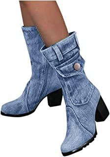 Milamy Women's Plus Size Booties Chunky Warm Round Toe Demin Boots Casual Zipper Slip-On High Heel Boots Shoes