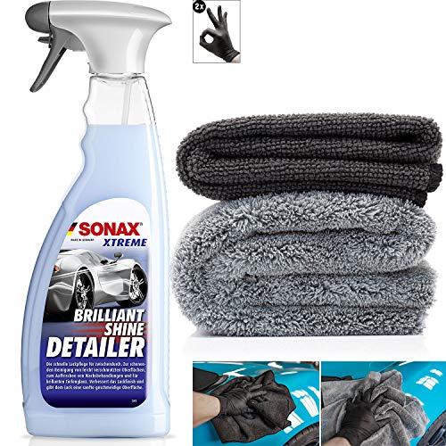detailmate Trockenreinger Auto Set: Sonax Xtreme BrilliantShine Detailer, 750ml Sprühflasche + kurzfloriges Mikrofasertuch 320GSM + langfloriges Poliertuch 550GSM + Schutzhandschuhe