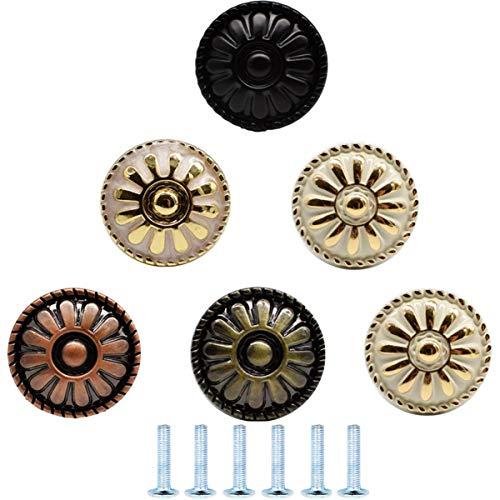 6PCS Pomello Armadio,Biluer Pomelli per Cassetti Maniglia della Mobilia Vintage Lega Di Zinco Pomelli Stile Europa ldeali Per Porte Armadi Cassetti e Credenze 30mm