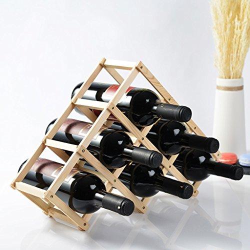 Dongyd 6 flaskor vinställ bänkskiva, naturlig furu trähylla för skafferi fristående triangel flaskställ, naturlig färg, 45 × 12 × 31 cm (färg: B)