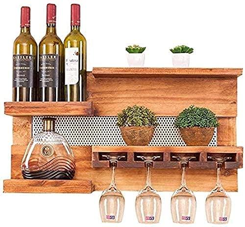 Estatuas de Equipo de Vida Estante de Madera para Vino montado en la Pared Restaurante Sala de Estar Bar Soporte Simple para Copa de Vino/Estante Creativo/Soporte para Copa/Soporte para Botella
