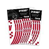 VFLUO GP Design, (2er-Pack) Motorroller retroreflektierendes Felgenband-Kit (1 Rad), 3M Technology, Band normaler Breite: 10mm, rot