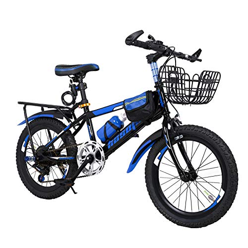 N-A 18 20 22 Inch Mountain Bike for 4-15 Years Children and Teens, 7 Speed Mountain MTB Bicycle with Backseat Bell Basket Bag Water Bottle Cage Mudguard Lock Tools