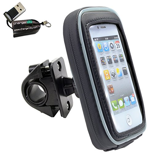 ChargerCity Smartphone Bike Handlebar Mount w/ Detachable Water Resistant Case for iPhone 7 6s Plus 6 SE Samsung Galaxy S7 Edge LG G5 V20 MOTO X DROID