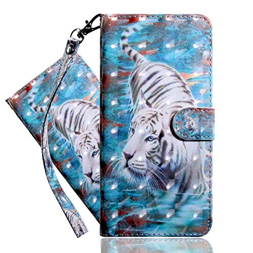 IMEIKONST Funda para Redmi Note 9 Pro 5G, 3D Delgada Cuero Magnetic Billetera Carcasa Vuelta Tapa Ranura Tarjeta Antichoque Protección Cubierta para Redmi Note 9 Pro 5G. White Tiger Bx