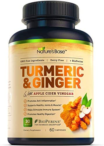 Nature s Base Turmeric Curcumin with Ginger and Apple Cider Vinegar 95 Curcuminoids Tumeric product image