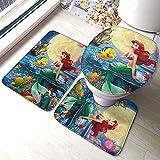 Ariel-Disney-Princess - Alfombrilla antideslizante para baño con forma de U, funda de cojín antideslizante, lavable a máquina