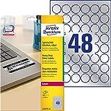 AVERY Zweckform L6129-20 Typenschild Folienetiketten (Ø 30 mm auf DIN A4, extrem stark selbstklebend, wetterfeste bedruckbare Klebefolie) 960 Aufkleber auf 20 Blatt silber