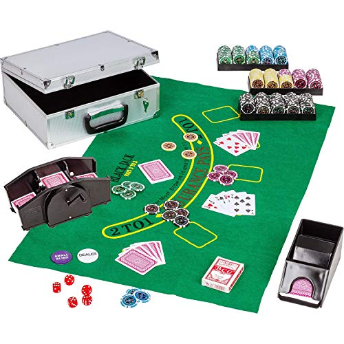 Maxstore Ultimate Pokerset Deluxe, 300er BZW. 600er Edition, 12 Gramm METALLKERN Laserchips, Poker Decks, Alu Pokerkoffer, Kartenmischer, Kartengeber, Würfel, Dealer Button, Pokerchips, Jetons