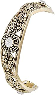 Marcasite Stretch Bracelet with Clear Rhinestone in Antique Gold Tone