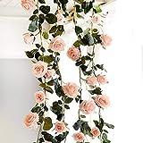 Amkun - Guirnalda vintage artificial de rosas sedosas y hojas de vid para colgar en bodas, pared de casa o como decoración de interiores (1unidad)