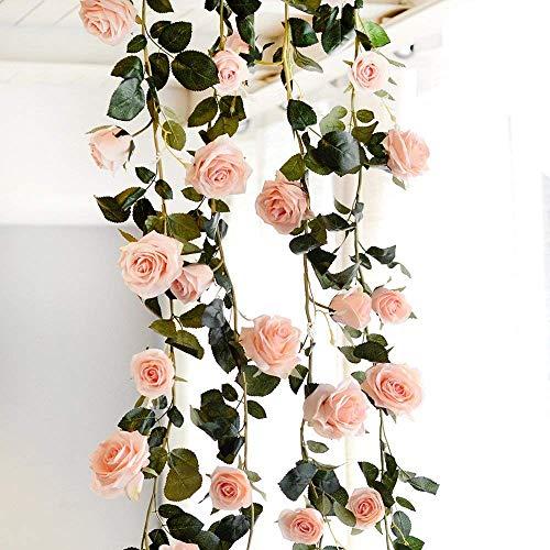 Amkun - Guirnalda de Flores Artificiales de Seda para Colgar en Fiestas, Bodas, hogar, decoración de Interiores, 1 Unidad