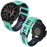 Th-some 22mm Repuesto de Correa para Samsung Galaxy Watch 3 (45mm)/Gear S3 Frontier/Classic/Galaxy Watch 46mm/Huawei GT/GT2 46mm, Banda de Reloj de Silicona Bicolor Ajustable (Verde azulado negro)