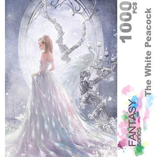 Ingooood- Jigsaw Puzzle 1000 pezzi per adulti- Serie Fantasy- The White Peacock_IG-0368 Entertainment Puzzle in legno Giocattoli Giocattoli