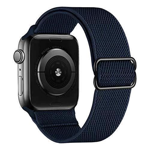 MroTech Correa de tela compatible con Apple Watch de 44 mm y 42 mm de nailon para reloj deportivo de repuesto para iWatch SE Serie 6/5/4/3/2/1, correa de nailon transpirable, 42/44 mm, color azul