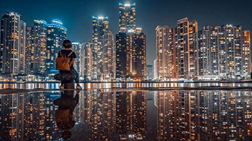 1000 Piezas Puzzle-Vista Nocturna De La Ciudad Metropolitana Rompecabezas para Niños Adultos Juego Creativo Rompecabezas Decoración del Hogar Regalo