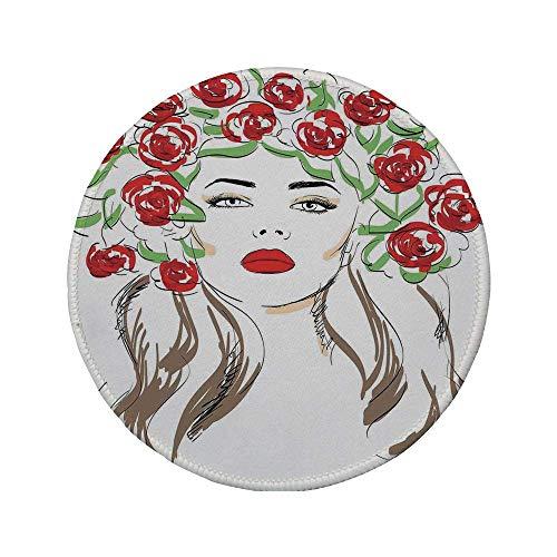 Rutschfreies Gummi-rundes Mauspad Modehaus-Dekor handgezeichnete Dame mit Rosen auf Haar Blumen-Zierpflanzen Naturkunst-Thema Rotbraun 7.9