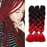Tresse Cheveux Africaine (24'/60CM, 300g) [ Lot de 3 ] Crochet Braids Twist Box [Noir & Vin Rouge & Rouge Foncé]