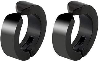 Mens Womens Non-Piercing 4-5 Pairs Stainless Steel Clip On Earrings, 8-10 Pieces Non-pierced Earrings Ear Clip Fake Ear Hoops for Boys Girls Huggie Earrings Set