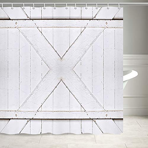 Rustic Farm Barn Wood Door Shower Curtain, Vintage Western Country Grey White Painted Wooden Plank Door Barn Rural Shower Curtain, Fabric Farmhouse Shower Curtain for Bathroom 12PCS Hooks, 69X70IN