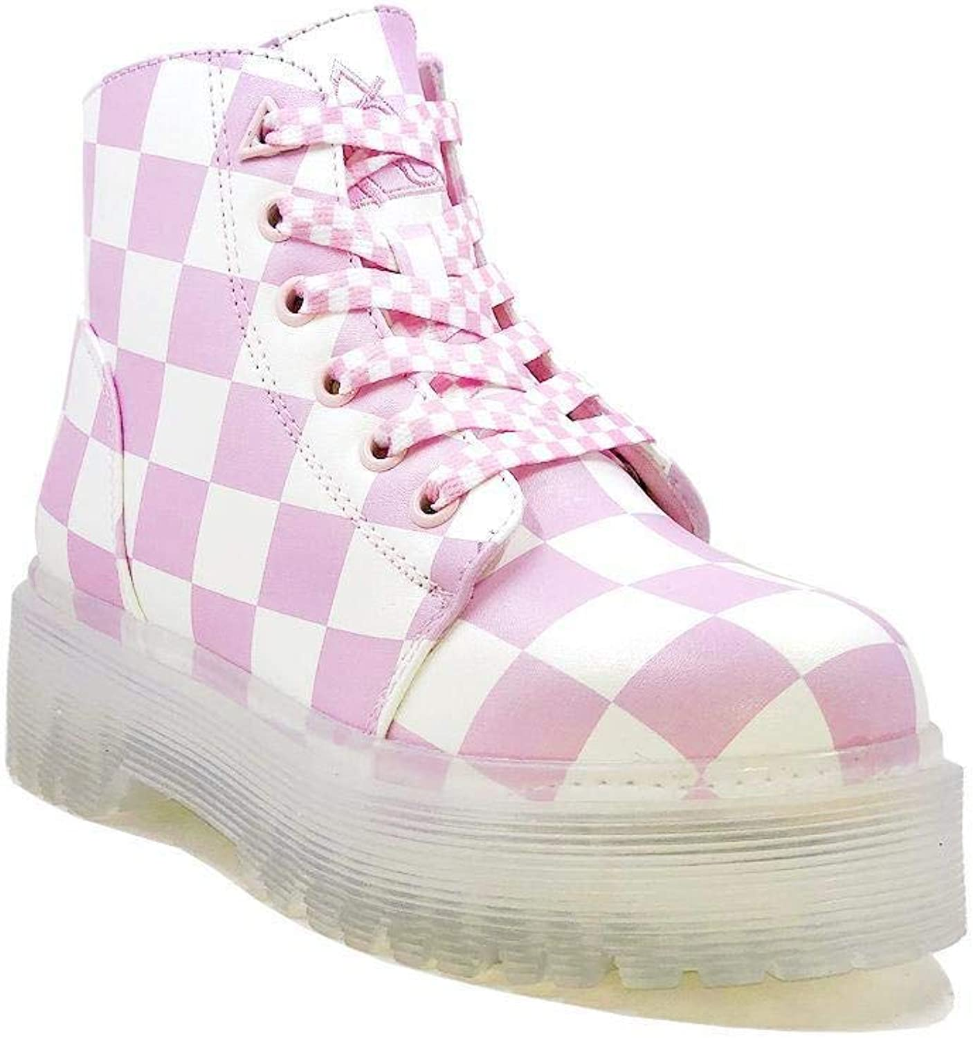 Y.R.U. YRU Womens SLAYR Pink and White Checker Punk Platform Boots