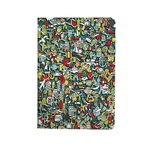 Doodle Case Fit New iPad Air 4th Generation 2020- Simple Mini Drawings of Holiday Related Concepts Caravan Compass Lifebuoy Breakfast Decorative iPad 10.9 Case Lightweight Smart Shell Stand Cover for