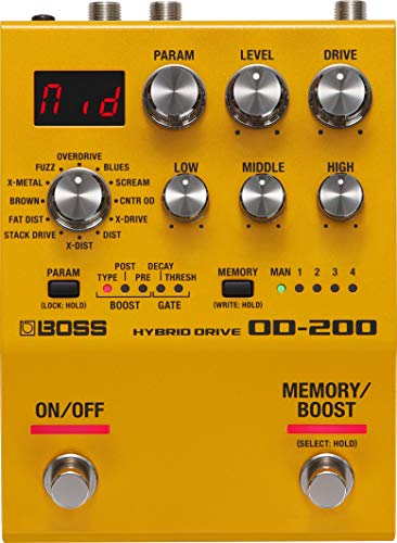 BOSS Od-200 Hybrid Drive Guitar Pedal, Hybrid Design with Analog And Digital Circuitry, Twelve Drive Modes